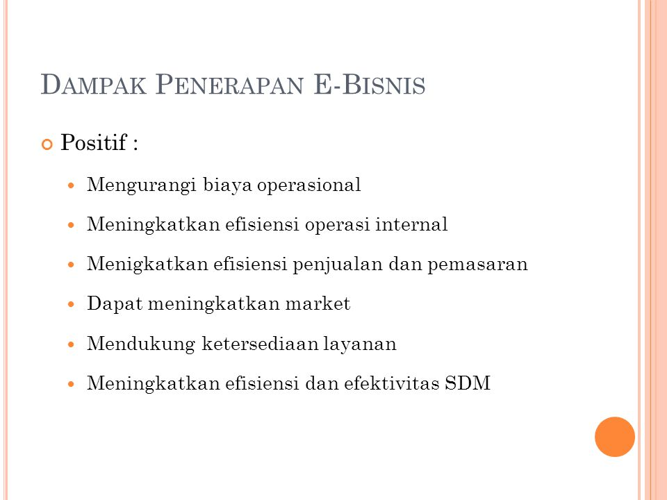 Dampak Penerapan E-Bisnis