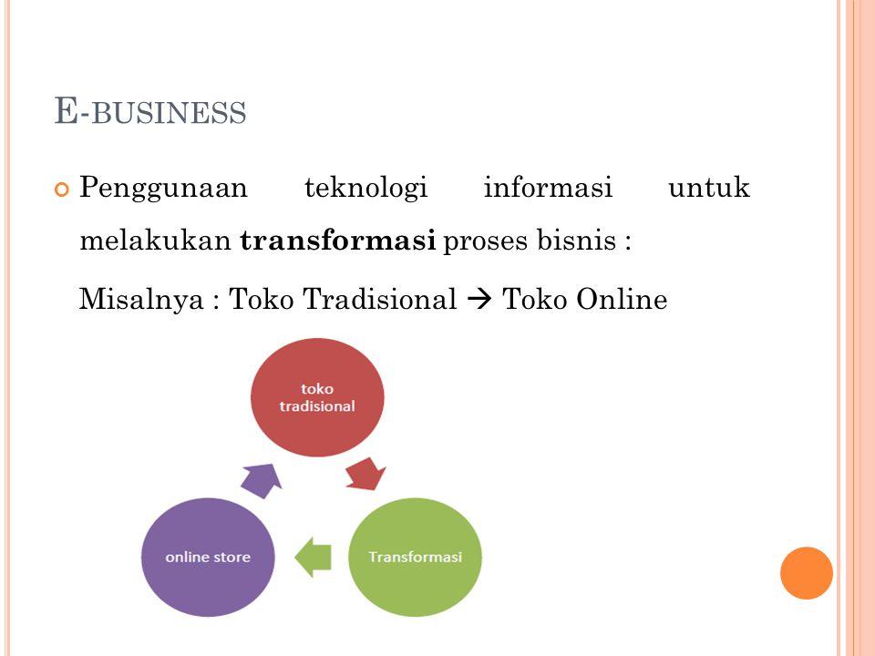 E-business Penggunaan teknologi informasi untuk melakukan transformasi proses bisnis : Misalnya : Toko Tradisional  Toko Online.