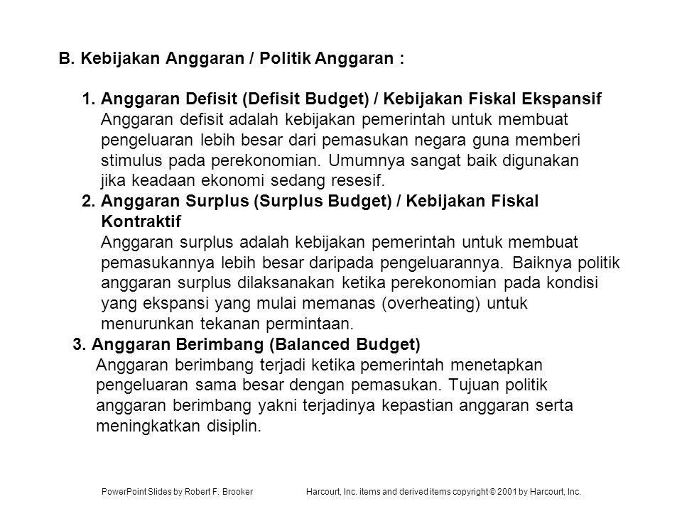 B. Kebijakan Anggaran / Politik Anggaran : 1
