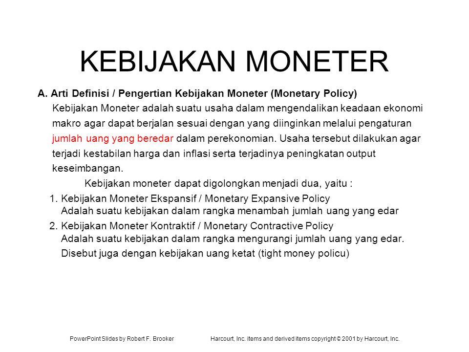KEBIJAKAN MONETER A. Arti Definisi / Pengertian Kebijakan Moneter (Monetary Policy)