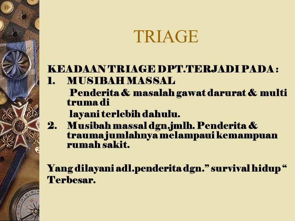 TRIAGE KEADAAN TRIAGE DPT.TERJADI PADA : MUSIBAH MASSAL