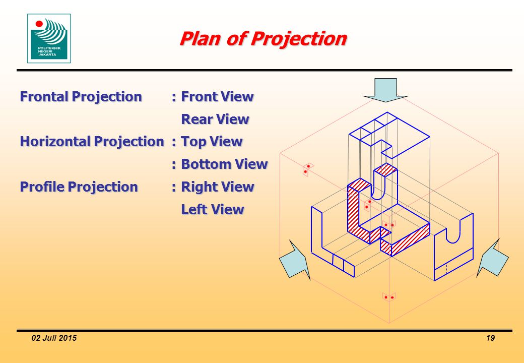 Plan of Projection Frontal Projection : Front View Rear View