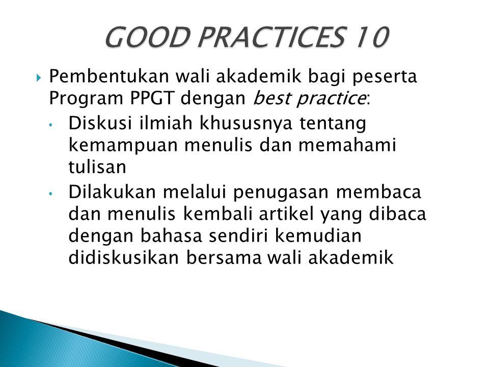 GOOD PRACTICES 10 Pembentukan wali akademik bagi peserta Program PPGT dengan best practice: