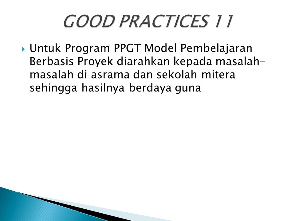 GOOD PRACTICES 11