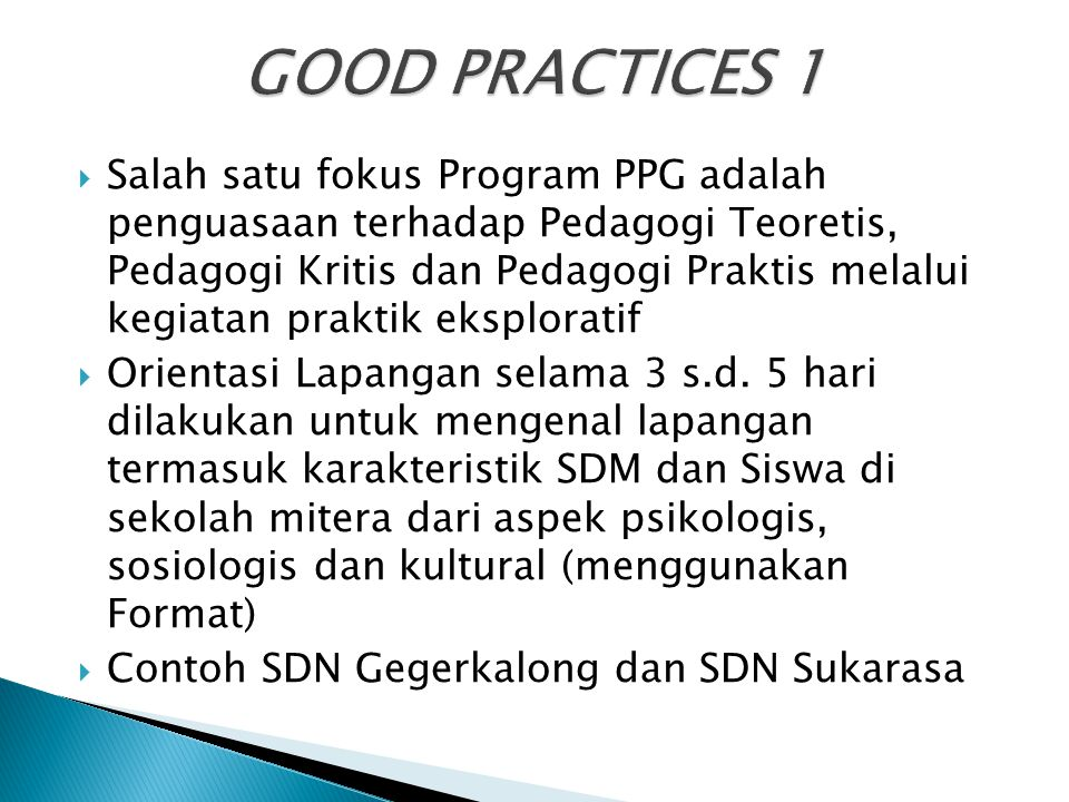 GOOD PRACTICES 1