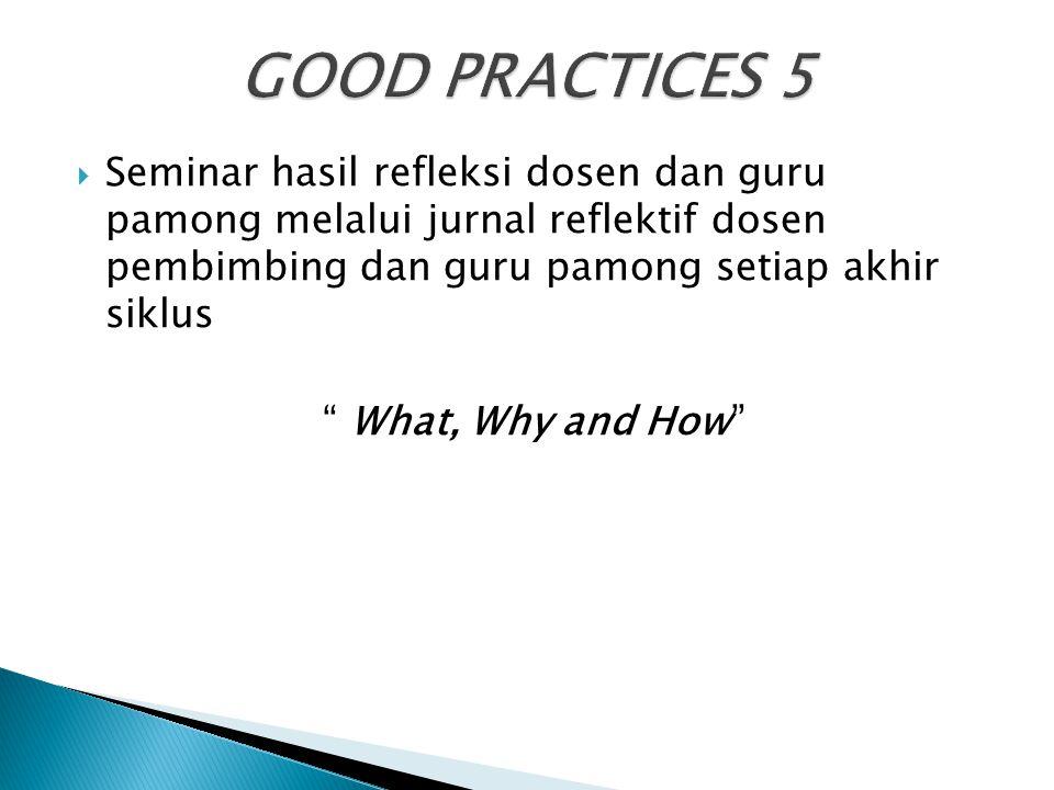 GOOD PRACTICES 5 Seminar hasil refleksi dosen dan guru pamong melalui jurnal reflektif dosen pembimbing dan guru pamong setiap akhir siklus.