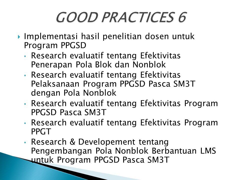 GOOD PRACTICES 6 Implementasi hasil penelitian dosen untuk Program PPGSD. Research evaluatif tentang Efektivitas Penerapan Pola Blok dan Nonblok.