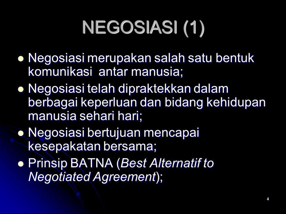 NEGOSIASI (1) Negosiasi merupakan salah satu bentuk komunikasi antar manusia;