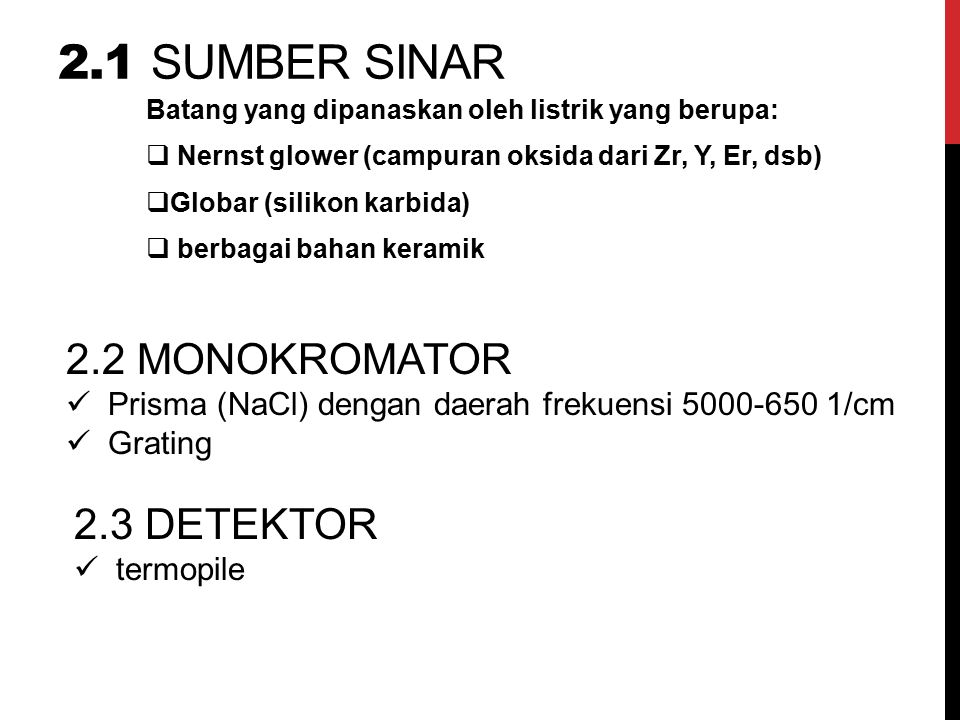 2.1 sumber sinar 2.2 MONOKROMATOR 2.3 DETEKTOR