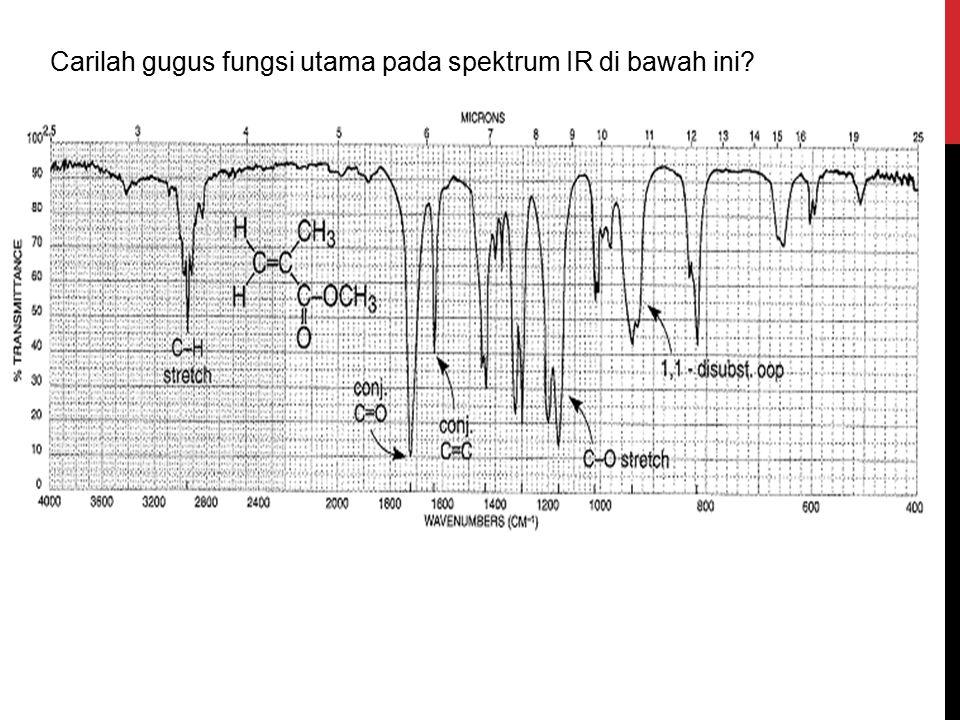 Carilah gugus fungsi utama pada spektrum IR di bawah ini