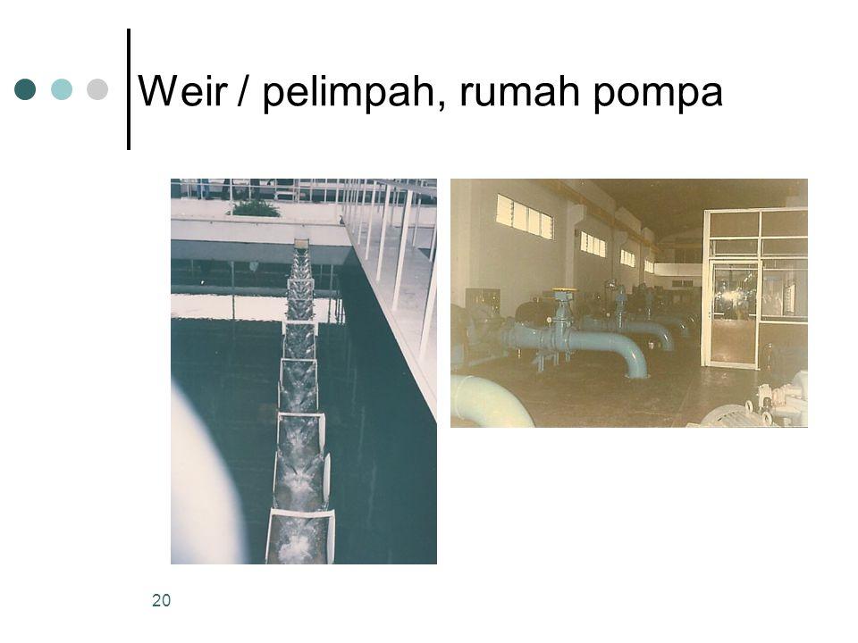 Weir / pelimpah, rumah pompa