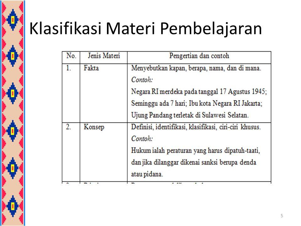 Klasifikasi Materi Pembelajaran