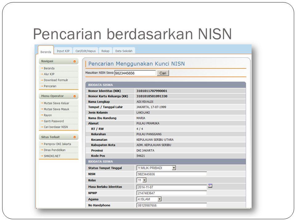 Pencarian berdasarkan NISN