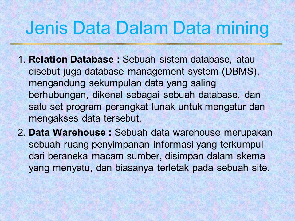 Jenis Data Dalam Data mining