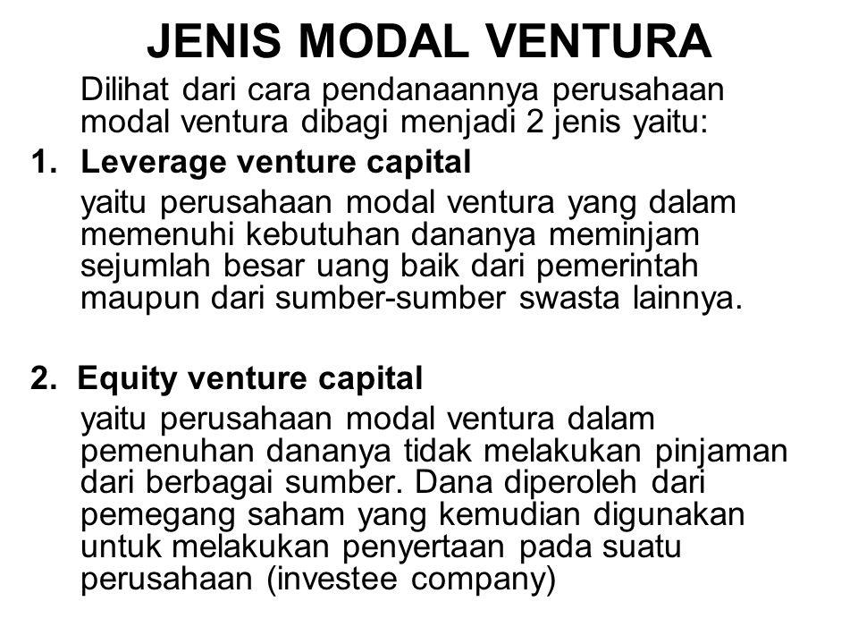 JENIS MODAL VENTURA Dilihat dari cara pendanaannya perusahaan modal ventura dibagi menjadi 2 jenis yaitu: