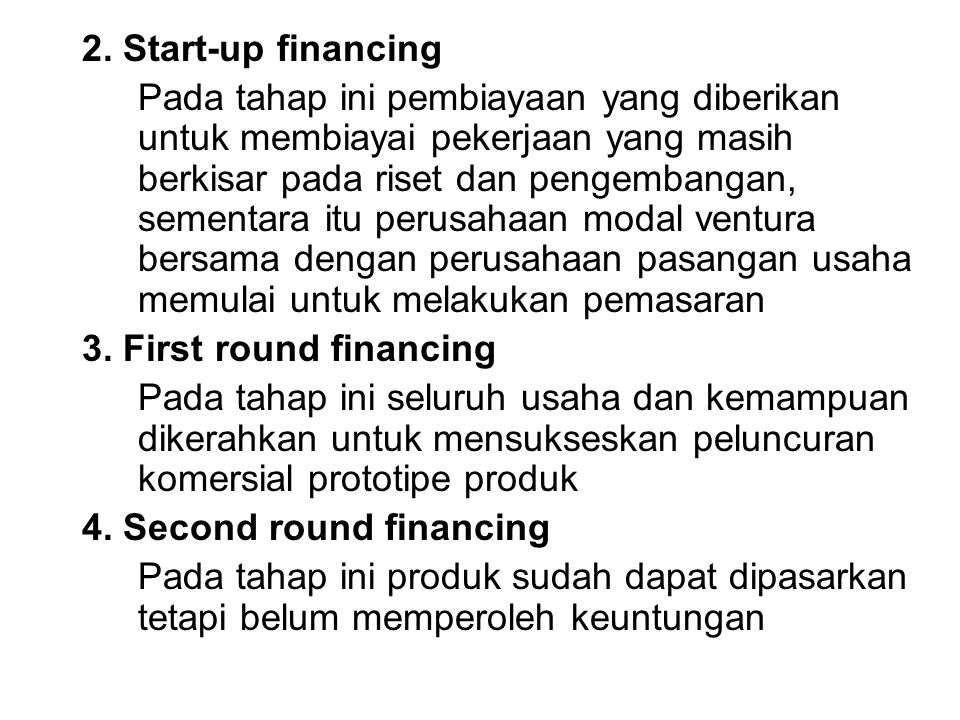 2. Start-up financing