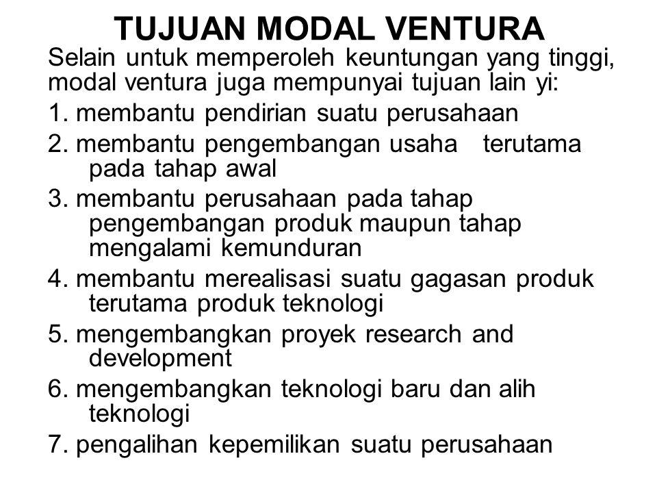 TUJUAN MODAL VENTURA Selain untuk memperoleh keuntungan yang tinggi, modal ventura juga mempunyai tujuan lain yi: