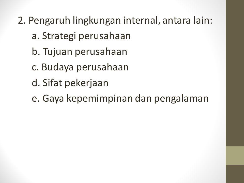 2. Pengaruh lingkungan internal, antara lain: a. Strategi perusahaan b