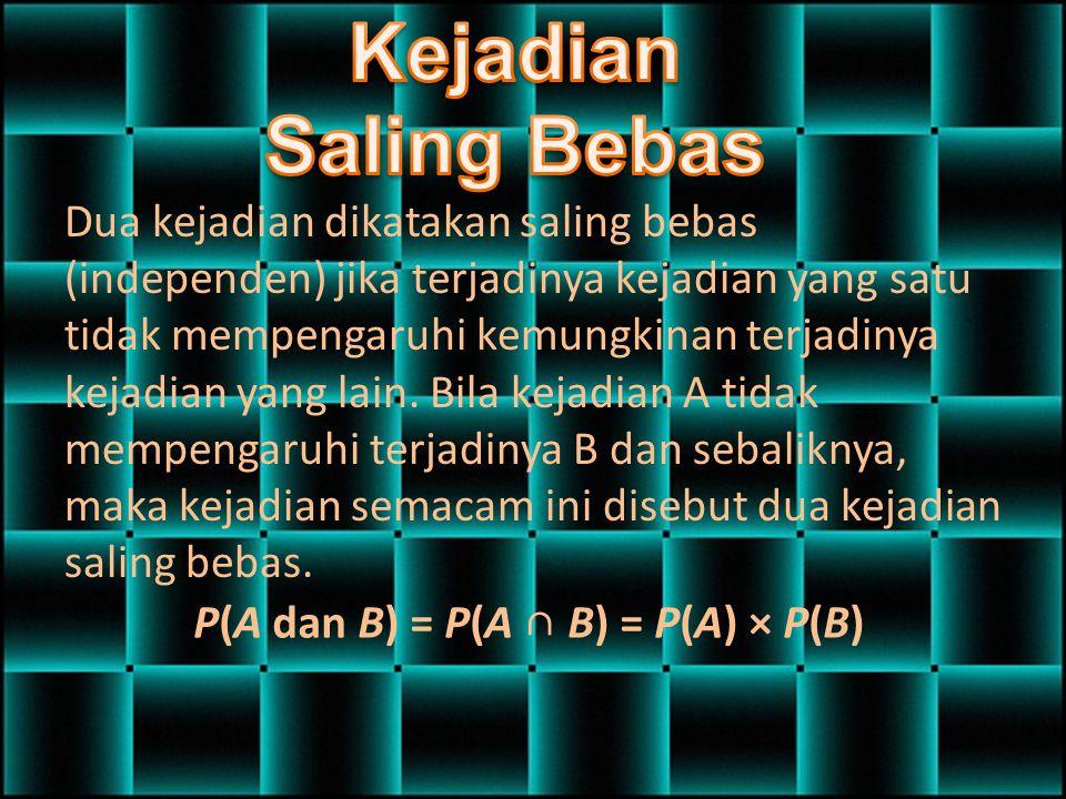 P(A dan B) = P(A ∩ B) = P(A) × P(B)