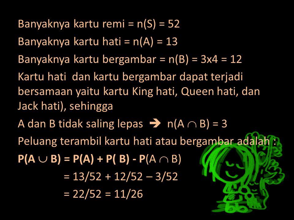 Banyaknya kartu remi = n(S) = 52 Banyaknya kartu hati = n(A) = 13 Banyaknya kartu bergambar = n(B) = 3x4 = 12 Kartu hati dan kartu bergambar dapat terjadi bersamaan yaitu kartu King hati, Queen hati, dan Jack hati), sehingga A dan B tidak saling lepas  n(A  B) = 3 Peluang terambil kartu hati atau bergambar adalah : P(A  B) = P(A) + P( B) - P(A  B) = 13/52 + 12/52 – 3/52 = 22/52 = 11/26