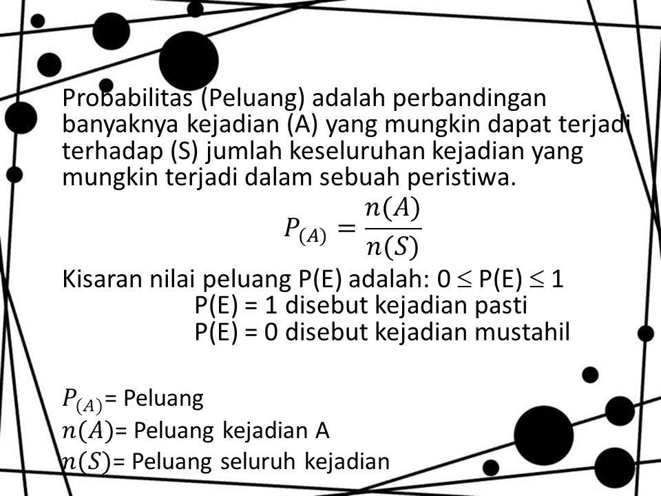 Probabilitas (Peluang) adalah perbandingan banyaknya kejadian (A) yang mungkin dapat terjadi terhadap (S) jumlah keseluruhan kejadian yang mungkin terjadi dalam sebuah peristiwa.