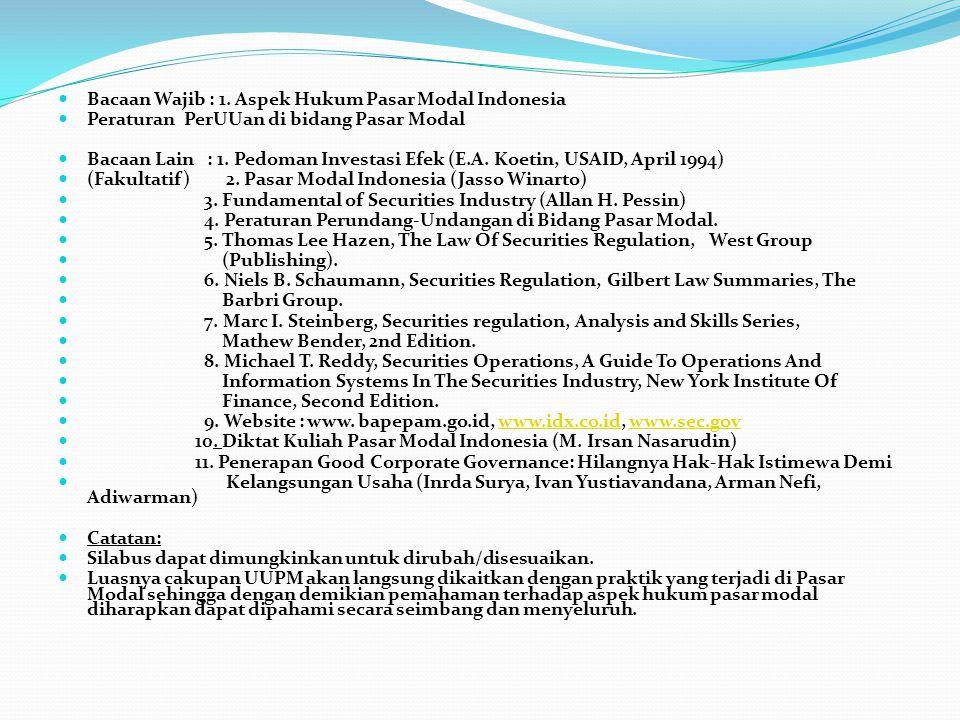 Bacaan Wajib : 1. Aspek Hukum Pasar Modal Indonesia