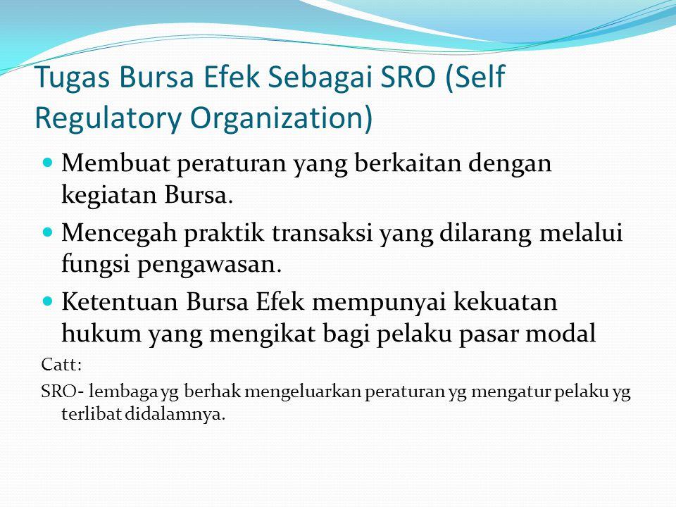 Tugas Bursa Efek Sebagai SRO (Self Regulatory Organization)
