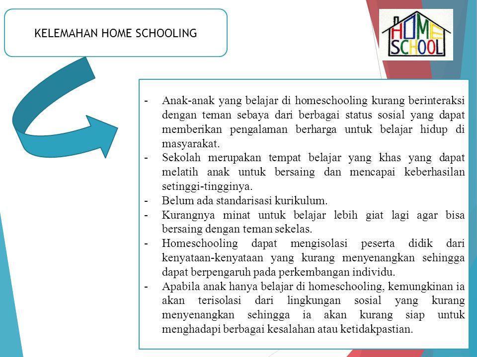 KELEMAHAN HOME SCHOOLING