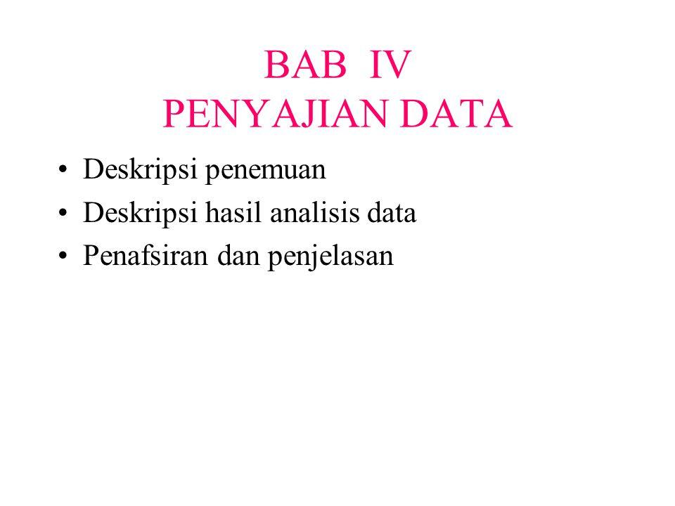BAB IV PENYAJIAN DATA Deskripsi penemuan Deskripsi hasil analisis data