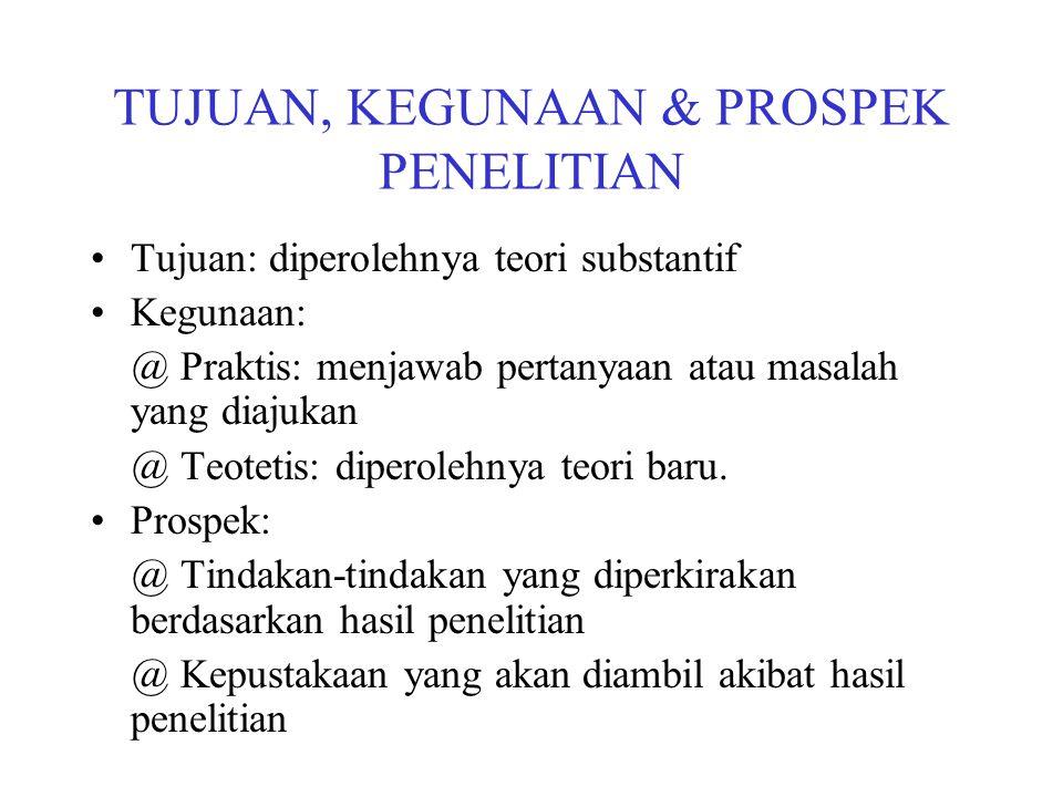 TUJUAN, KEGUNAAN & PROSPEK PENELITIAN