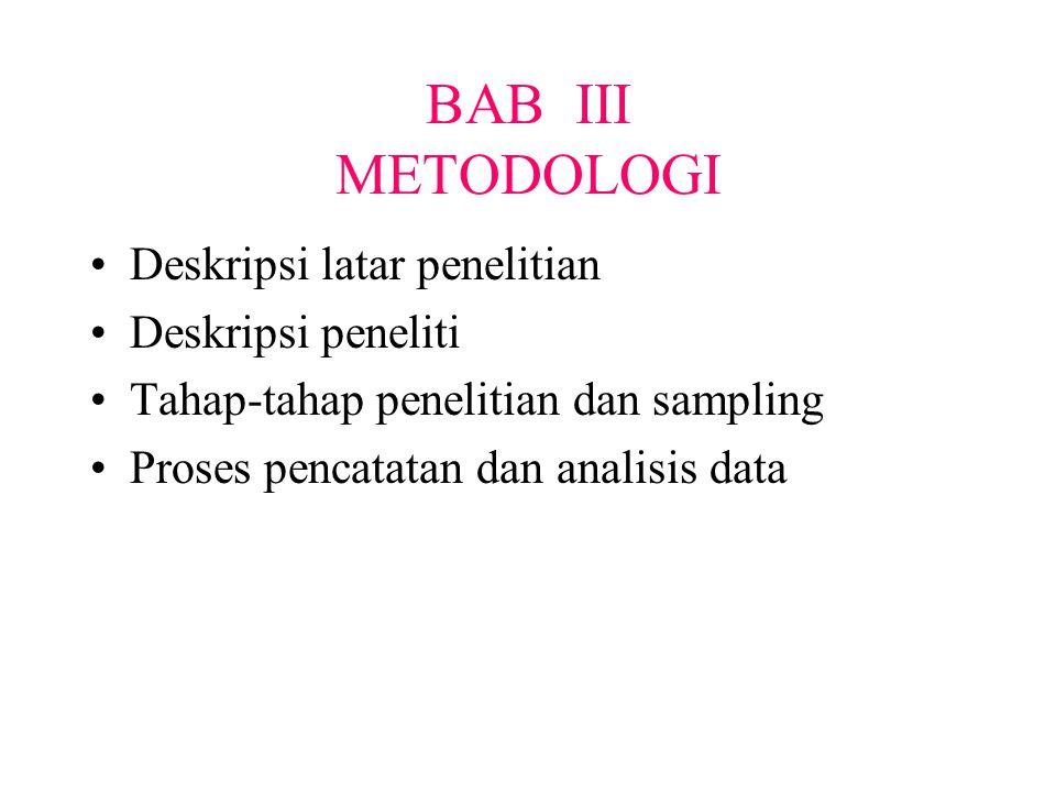 BAB III METODOLOGI Deskripsi latar penelitian Deskripsi peneliti