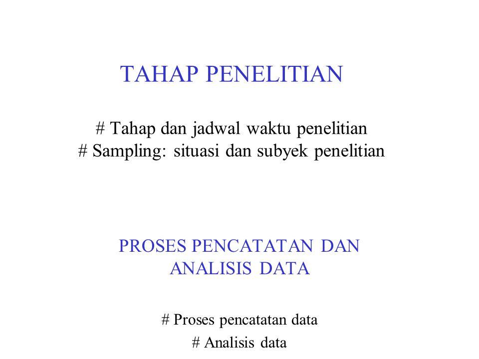 TAHAP PENELITIAN # Tahap dan jadwal waktu penelitian # Sampling: situasi dan subyek penelitian
