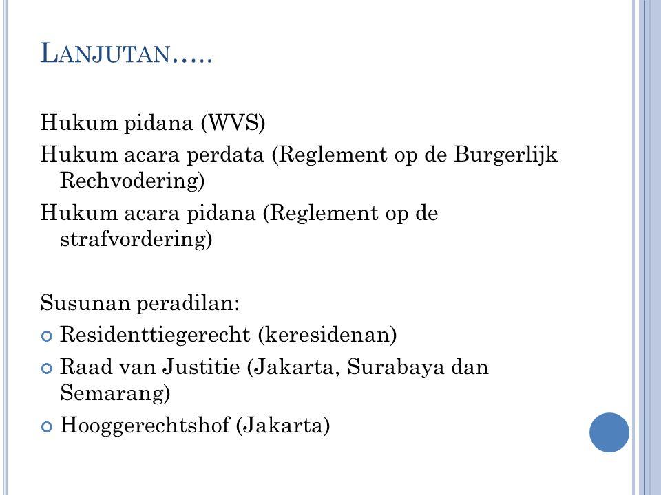 Lanjutan….. Hukum pidana (WVS)