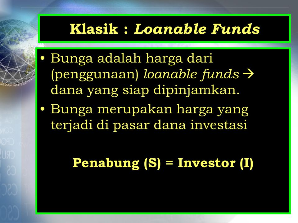 Klasik : Loanable Funds