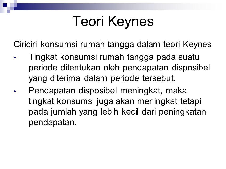 Teori Keynes Ciriciri konsumsi rumah tangga dalam teori Keynes