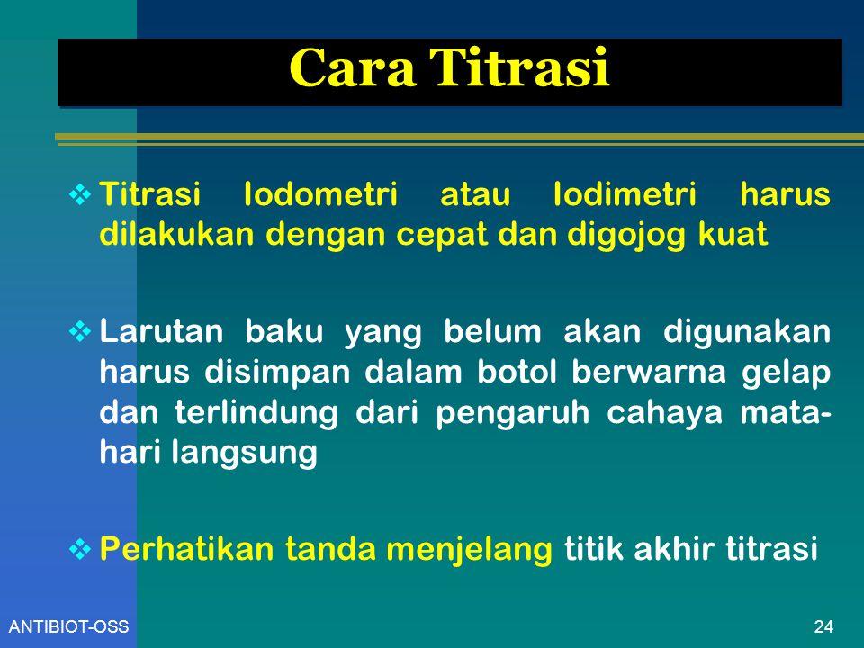 Cara Titrasi Titrasi Iodometri atau Iodimetri harus dilakukan dengan cepat dan digojog kuat.