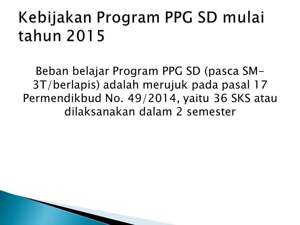 Kebijakan Program PPG SD mulai tahun 2015
