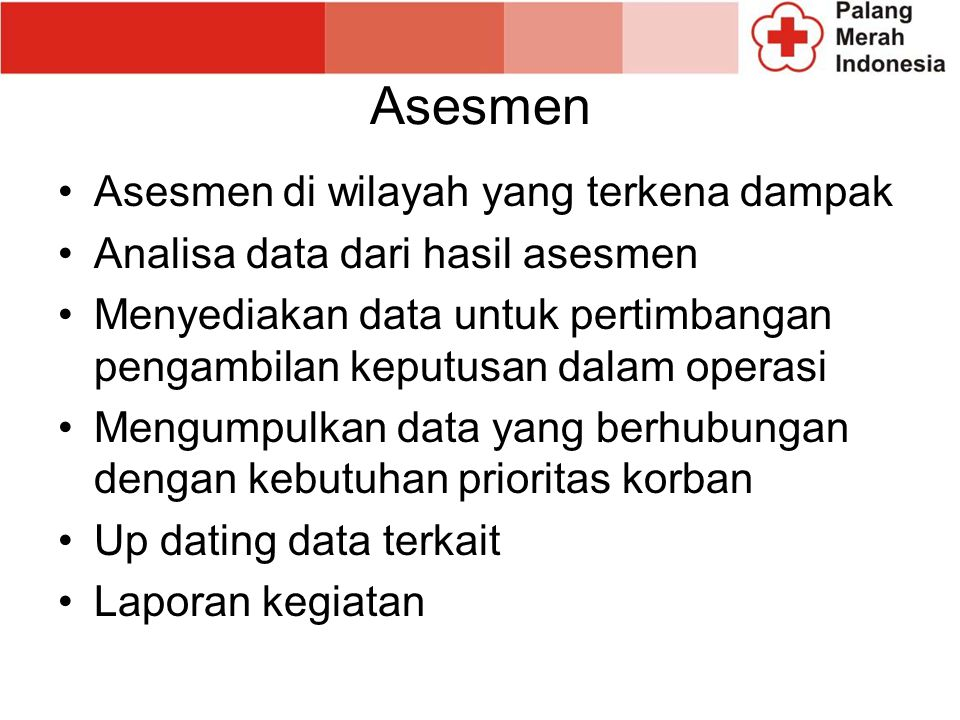 Asesmen Asesmen di wilayah yang terkena dampak