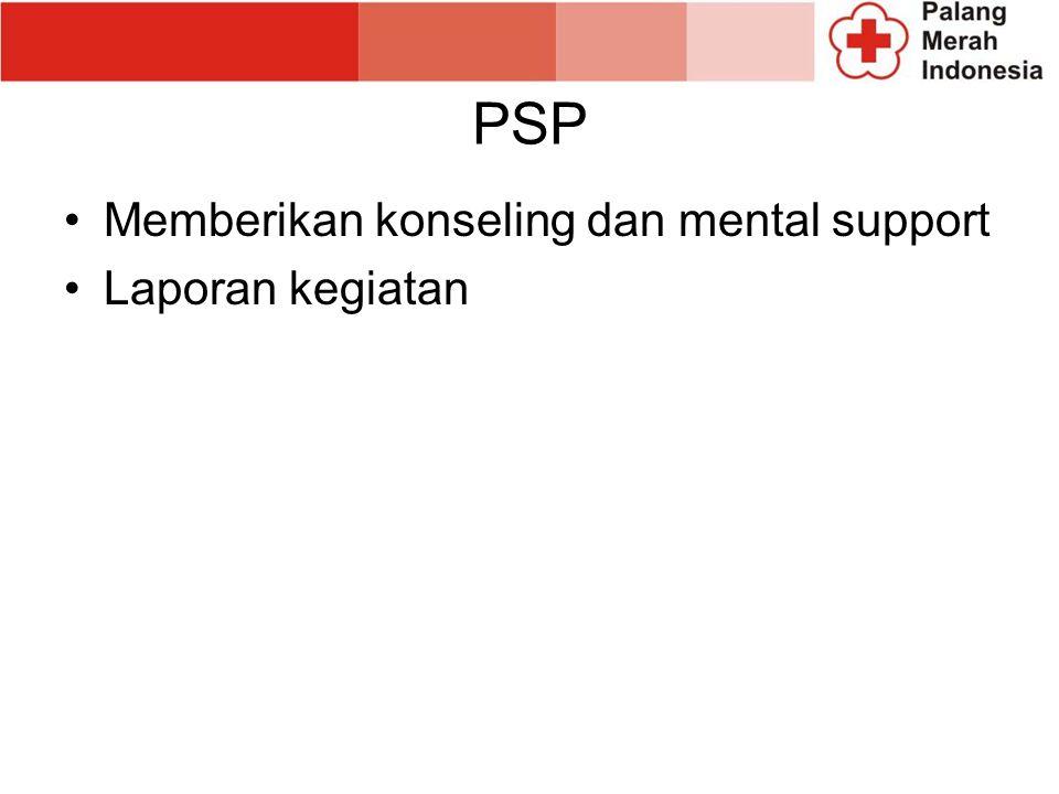 PSP Memberikan konseling dan mental support Laporan kegiatan