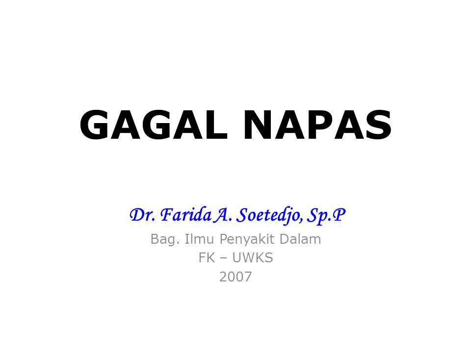 Dr. Farida A. Soetedjo, Sp.P Bag. Ilmu Penyakit Dalam FK – UWKS 2007