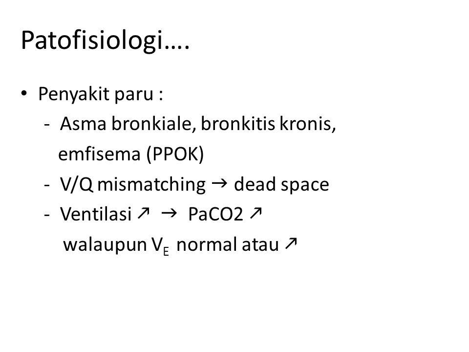 Patofisiologi…. Penyakit paru : - Asma bronkiale, bronkitis kronis,