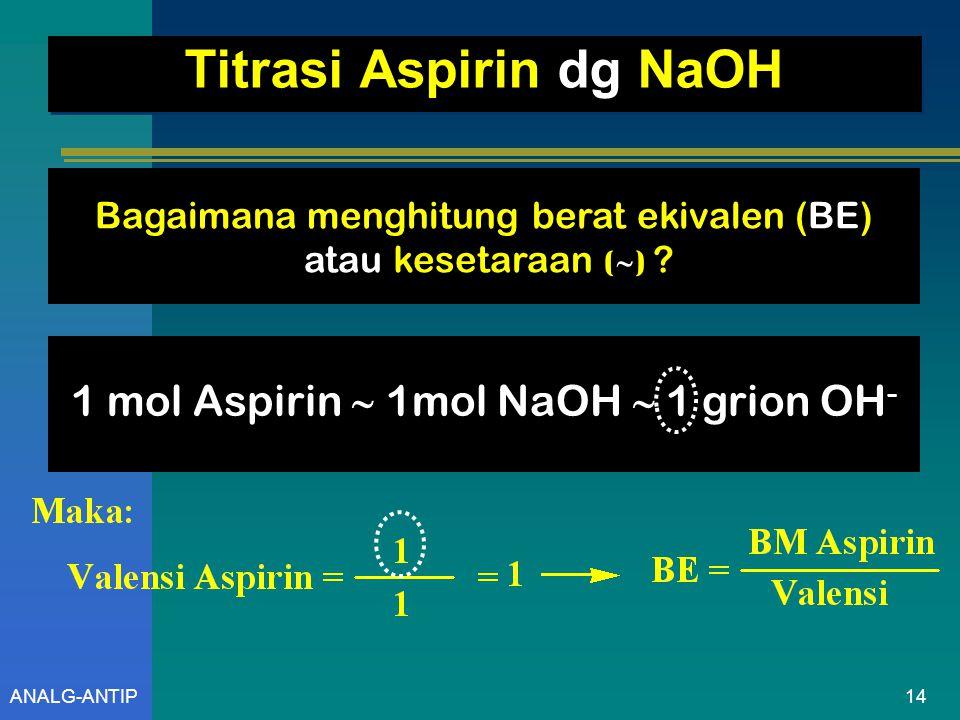 Titrasi Aspirin dg NaOH
