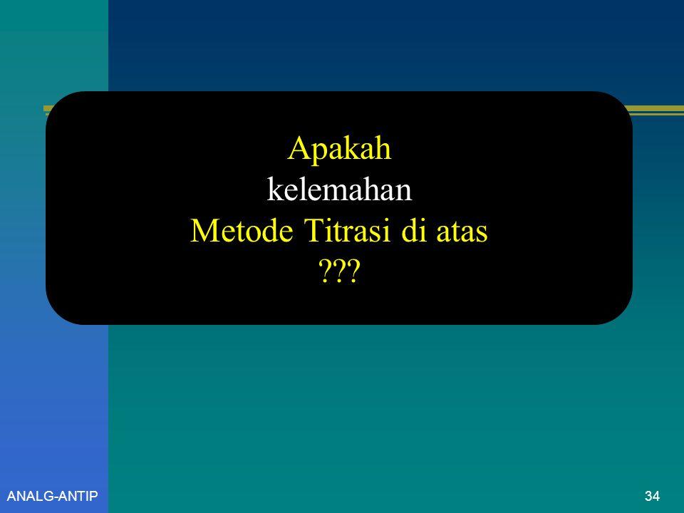 Apakah kelemahan Metode Titrasi di atas ANALG-ANTIP