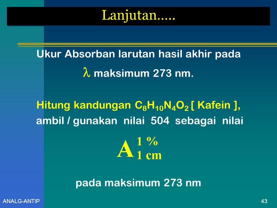 Lanjutan…..  maksimum 273 nm. Ukur Absorban larutan hasil akhir pada
