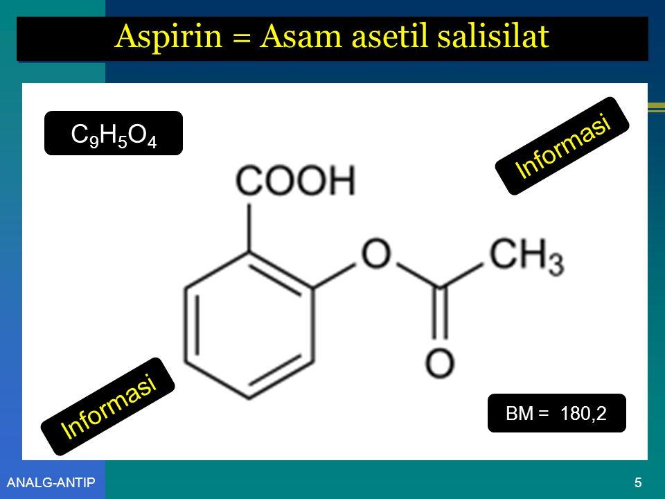 Aspirin = Asam asetil salisilat