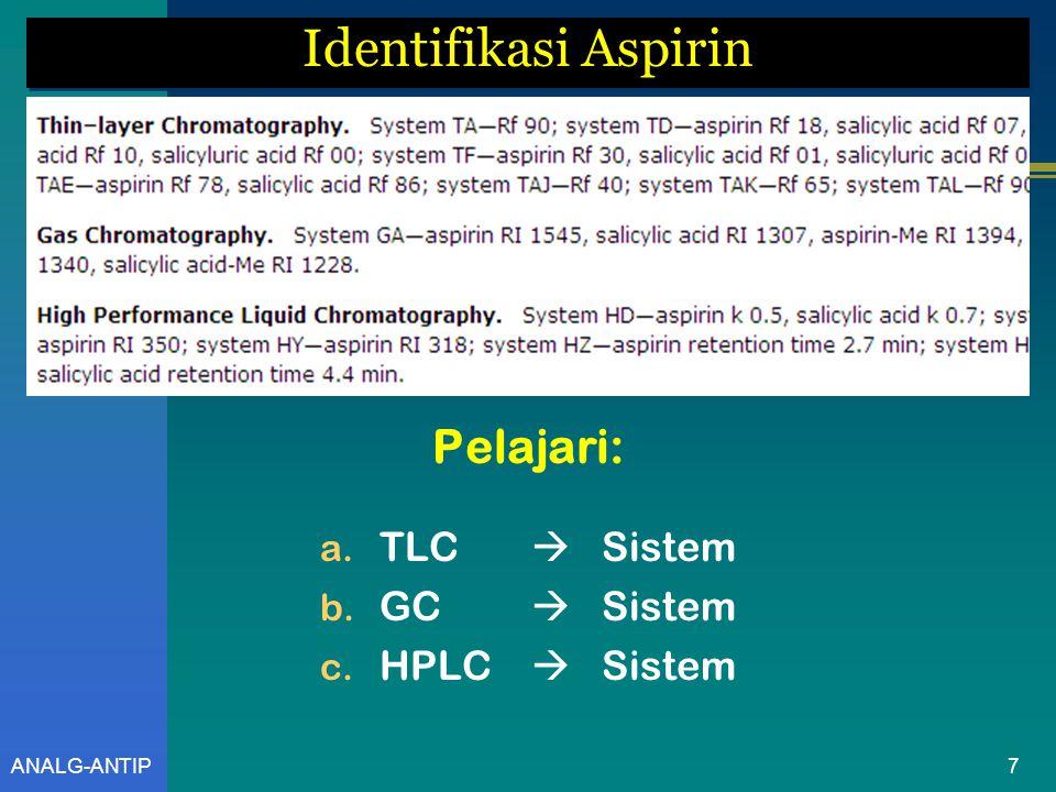 Identifikasi Aspirin Pelajari: TLC  Sistem GC  Sistem HPLC  Sistem