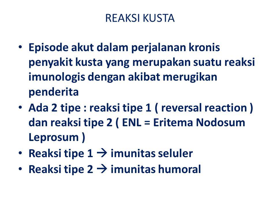 REAKSI KUSTA Episode akut dalam perjalanan kronis penyakit kusta yang merupakan suatu reaksi imunologis dengan akibat merugikan penderita.