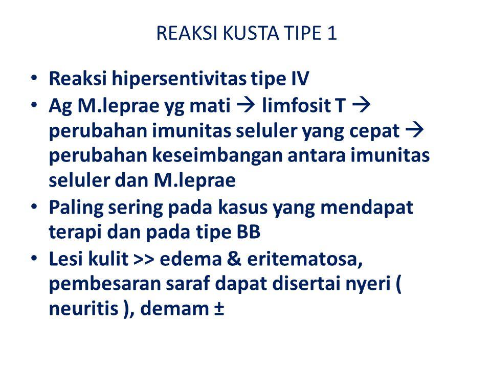 REAKSI KUSTA TIPE 1 Reaksi hipersentivitas tipe IV.