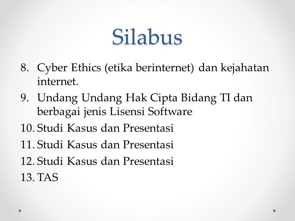 Silabus Cyber Ethics (etika berinternet) dan kejahatan internet.