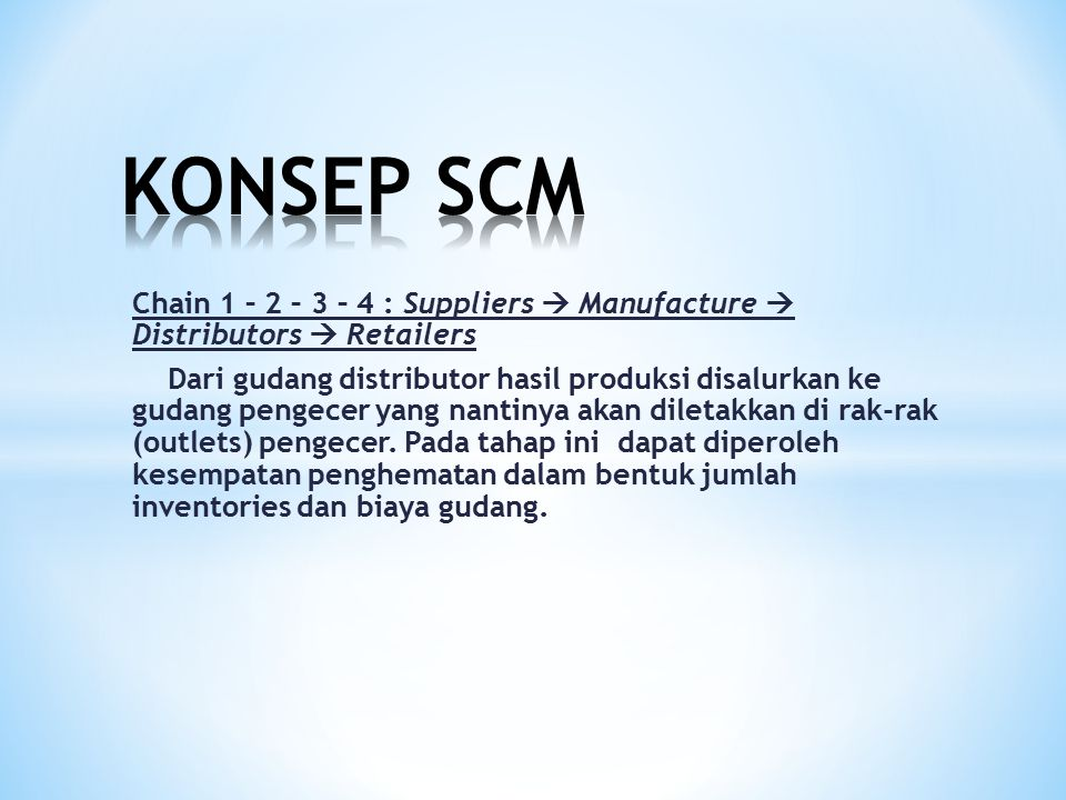 KONSEP SCM Chain 1 – 2 – 3 – 4 : Suppliers  Manufacture  Distributors  Retailers.